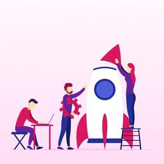 Idea creativa di un lavoro di squadra a coming soon spaceship