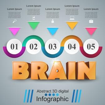Idea del cervello 3d su sfondo grigio