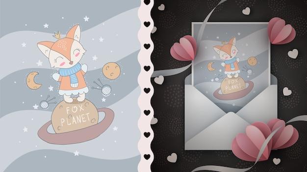 Idea del pianeta fox per la cartolina d'auguri