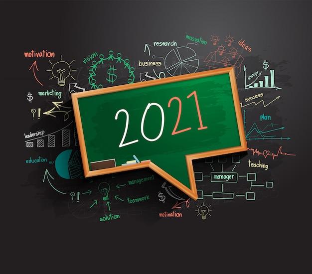 Idea del piano di strategia di successo aziendale del nuovo anno 2021 sulla lavagna delle bolle di discorso