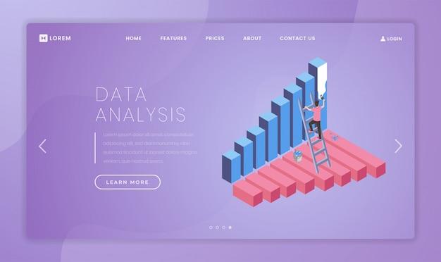 Idea dell'interfaccia della homepage del sito web di educazione all'alfabetizzazione finanziaria con illustrazioni isometriche