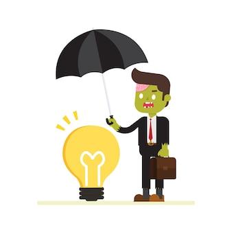 Idea della copertura dell'uomo d'affari dello zombie con l'ombrello