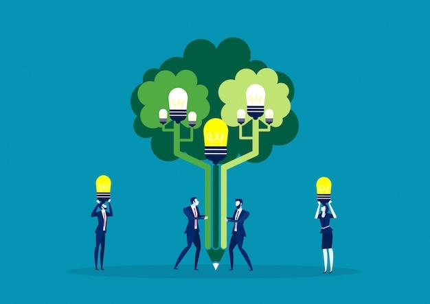 Idea della pianta dell'uomo di affari del gruppo all'albero dell'idea per il mondo verde