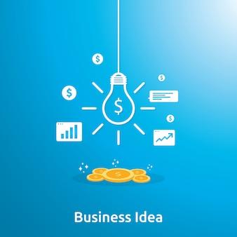 Idea di affari con la lampadina e l'oggetto dell'elemento della moneta del dollaro.