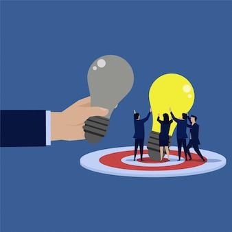 Idea di cambiamento del team aziendale per una nuova idea.