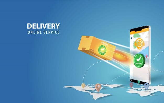 Idea di concetto dello smartphone di consegna online. consegna rapida del pacco di consegna sul cellulare.