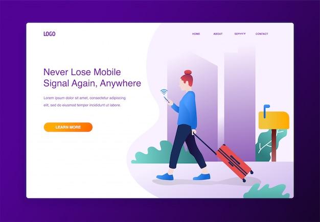 Idea di design. donna del viaggiatore che utilizza il segnale wifi di ricerca del telefono cellulare, per il sito web