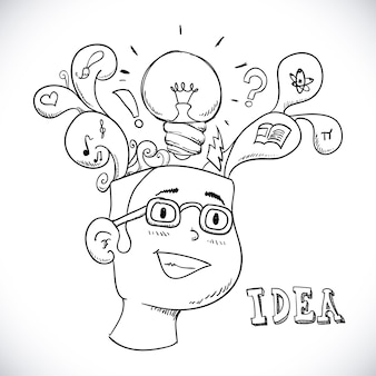 Idea di progettazione su sfondo bianco illustrazione vettoriale