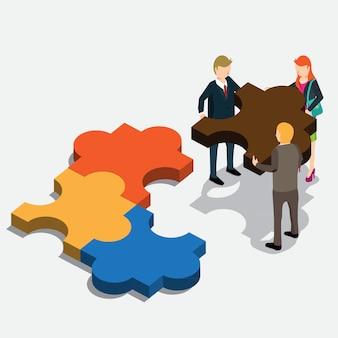 Idea di puzzle di affari con il concetto isometrico