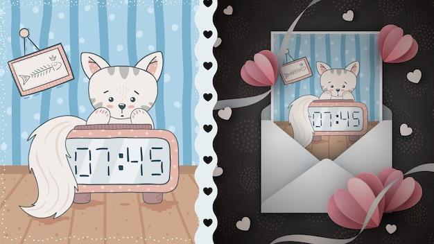 Idea di tempo gatto carino per biglietto di auguri.