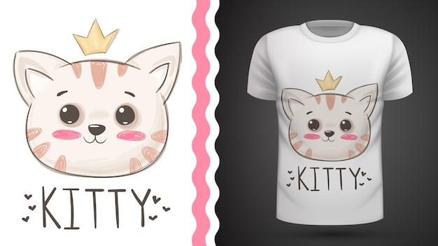 Idea gatto carino per t-shirt stampata