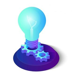 Idea isometrica lampadina con ingranaggi.