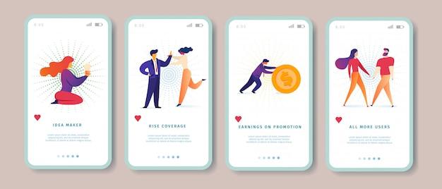 Idea maker, rise coverage, earnings on promotion, tutti gli altri utenti pagina di app per dispositivi mobili set di schermi per sito web.