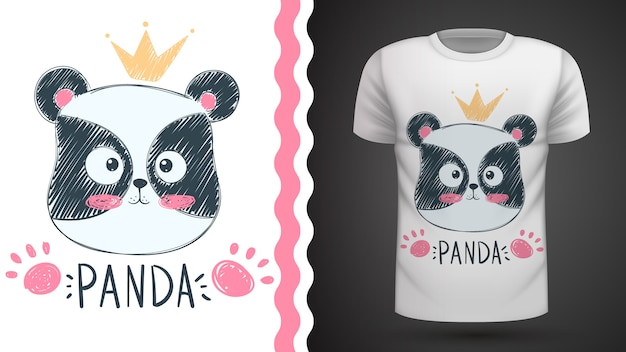 Idea panda carina per t-shirt stampata
