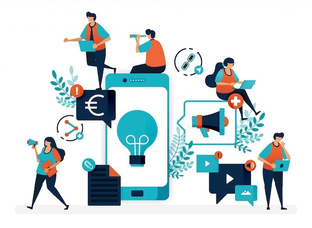 Idee commerciali promuovendo prodotti tramite cellulare. pubblicità e marketing con lo smartphone per trarre profitto.