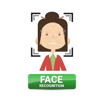 Identificazione biometrica del bottone di riconoscimento del fronte sul concetto femminile di tecnologia di controllo di accesso del fronte