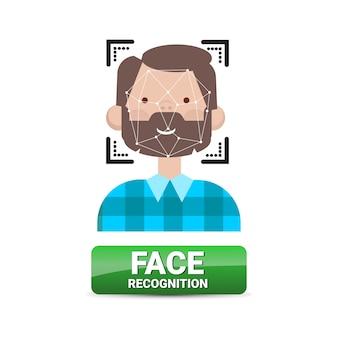 Identificazione biometrica del bottone di riconoscimento del fronte sul concetto maschio di tecnologia di controllo di accesso del fronte