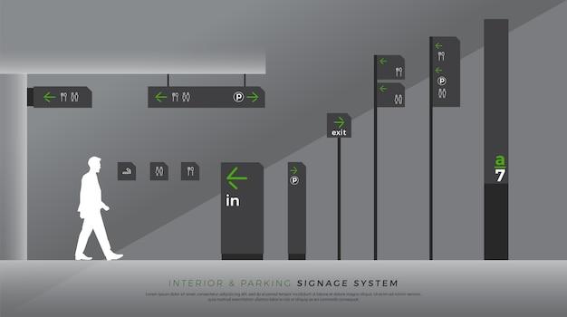 Identità aziendale del sistema di segnaletica interna e del traffico