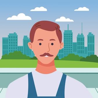 Idraulico con cartone animato profilo baffi lavoratore