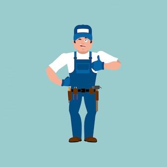 Idraulico pollice in alto. il montatore ammicca emoji. illustrazione allegra di serviceman del lavoratore di servizio