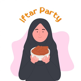 Iftar party arabian woman holding date ciotola di frutta