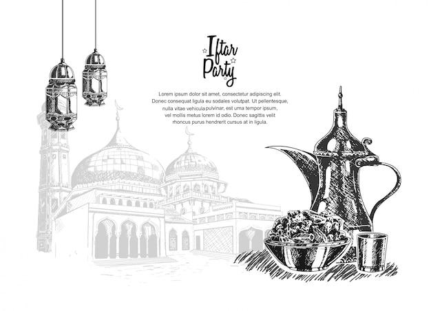 Iftar party con cibo, lanterna e moschea