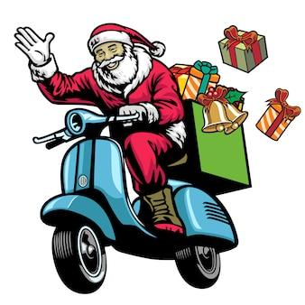 Il babbo natale che guida vecchio motorino con il mazzo di regali di natale