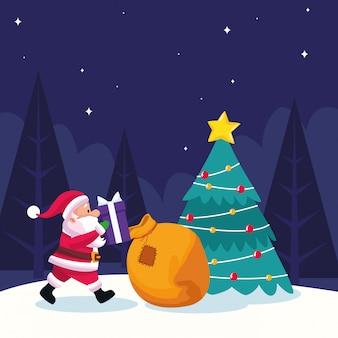 Il babbo natale con la grande borsa e contenitori di regalo ed albero di natale durante la notte nevosa, illustrazione