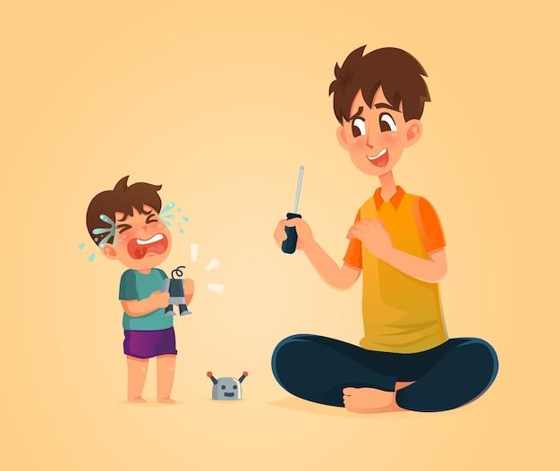 Il babbo può aggiustare il mio giocattolo.