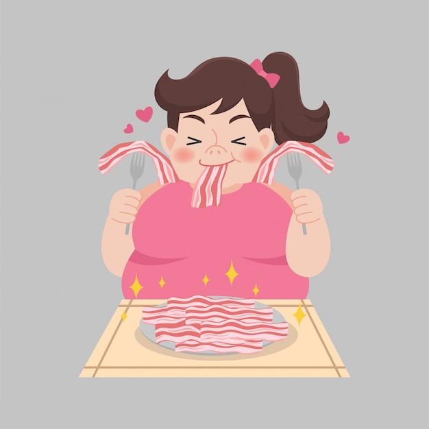 Il bacon grasso di amore della donna gode di di mangiare