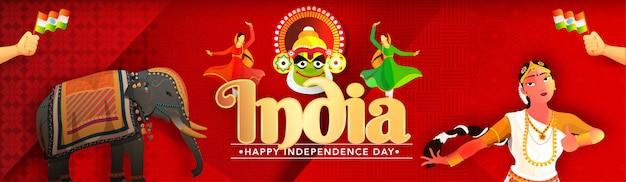 Il ballerino di kathakali nella posa differente con l'elefante su carta rossa ha tagliato il fondo astratto del modello per il festival dell'india.
