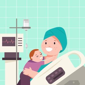 Il bambino abbraccia una madre con il cancro. vector l'illustrazione medica piana del fumetto dei pazienti in una stanza di ospedale.