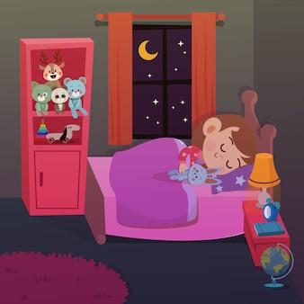 Il bambino dorme nell'illustrazione di vettore della stanza