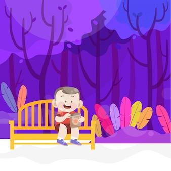 Il bambino felice mangia lo spuntino nell'illustrazione di vettore del parco