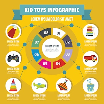 Il bambino gioca il concetto infographic, stile piano
