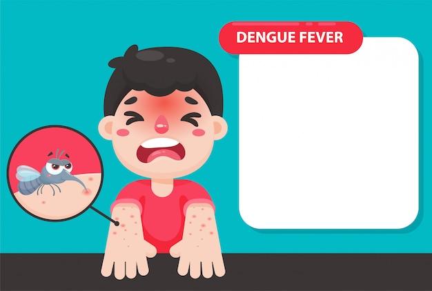 Il bambino ha la febbre alta e un'eruzione cutanea rossa sul braccio. a causa del morso di una zanzara per la febbre dengue.