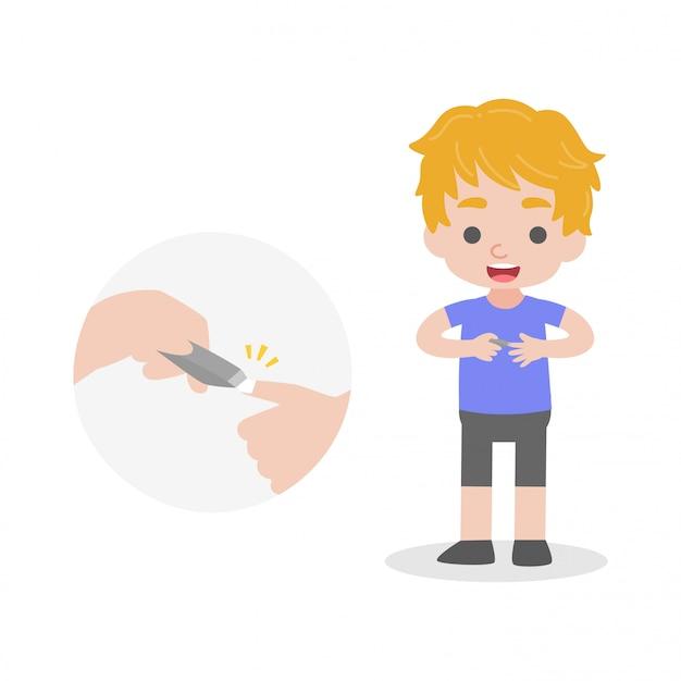 Il bambino ha tagliato le sue lumache concetto medico di sanità