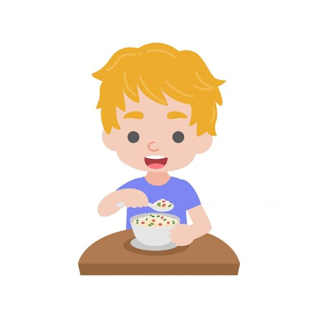 Il bambino mangia cibo
