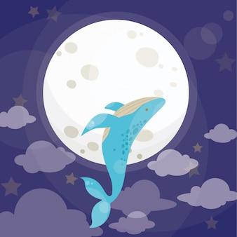 Il bambino sveglio gioca con le stelle e la luna piena