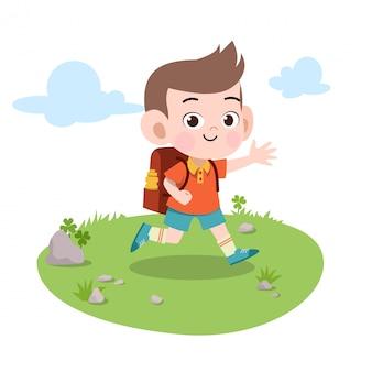 Il bambino va all'illustrazione di vettore della scuola