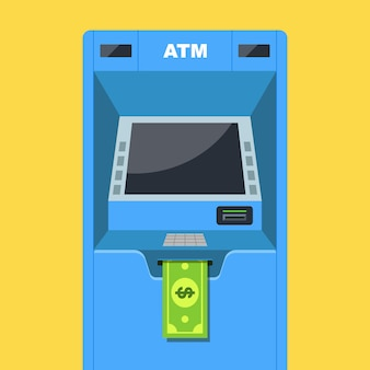 Il bancomat distribuisce denaro. stipendio in dollari. illustrazione vettoriale piatta.