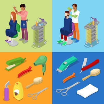 Il barbiere del salone di bellezza dei capelli rende il concetto isometrico dell'acconciatura dell'uomo e della ragazza. vector 3d illustrazione piatta