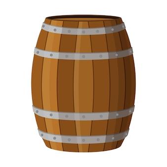 Il barile di legno con alcol beve rum, brandy, tequila