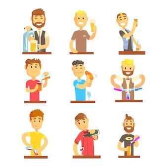 Il barista sorridente allegro serve al bar impostato per. cartone animato colorato illustrazioni dettagliate