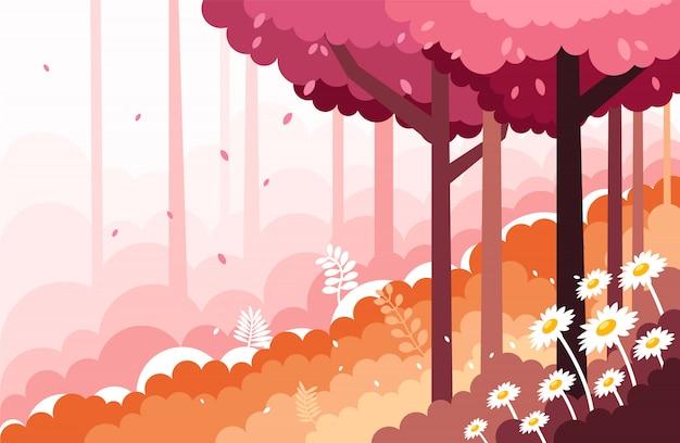 Il bello paesaggio dell'illustrazione dei pendii della foresta
