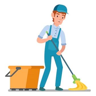 Il bidello professionista sta rastrellando il pavimento isolato su fondo bianco
