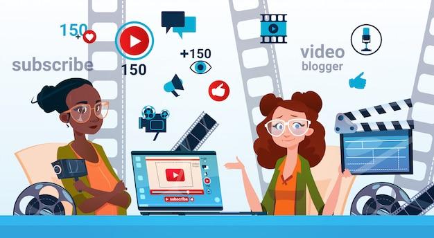 Il blogging online della corrente di due video blogger della donna sottoscrive il concetto