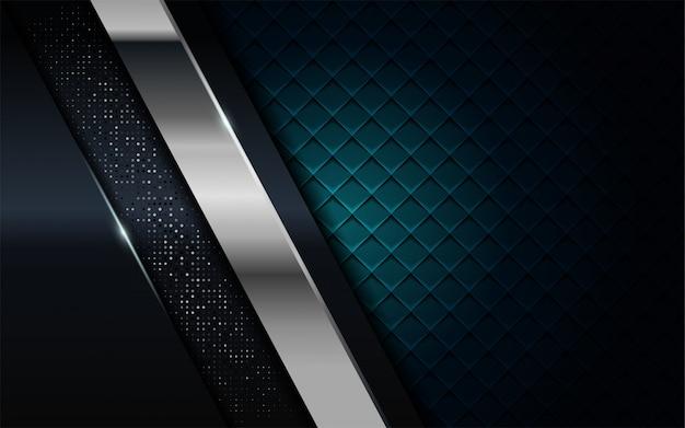 Il blu navy realistico si combina con lo sfondo strutturato argento e nero