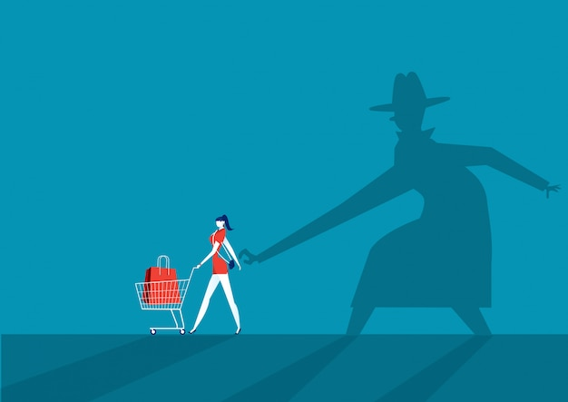 Il borseggiatore shadow man ruba il portafoglio dalla borsa