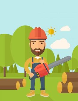 Il boscaiolo taglia un albero con una motosega